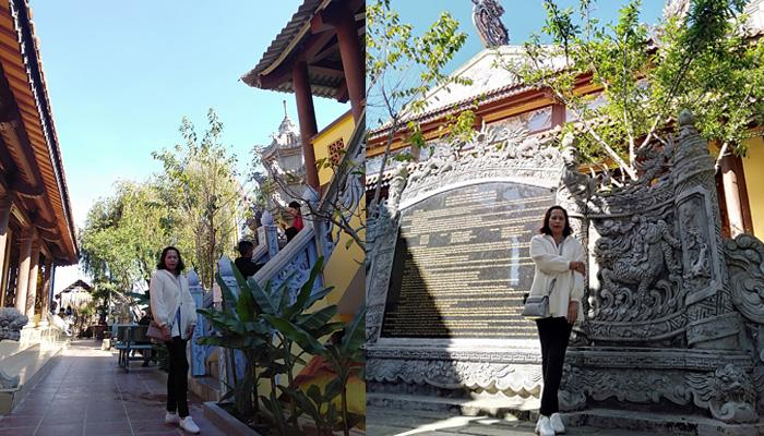 Phia bên tay phải là nơi để xin xăm - Xung quanh tượng lộ thiên ngoài trời là các tấm bia khắc thông tin của chùa