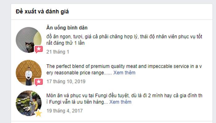Đánh giá của khách hàng trên fanpaghe Fungi Chingu Đà Lạt