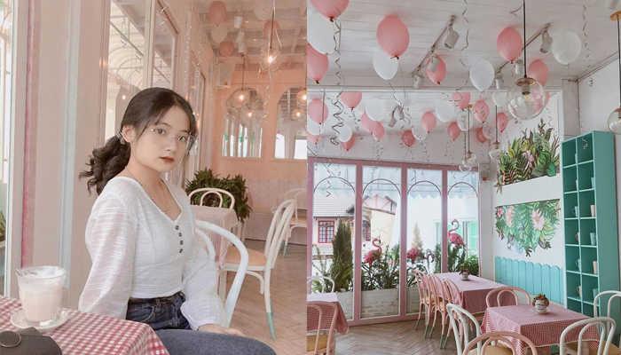 Bên trong quán được trang trí với tông hồng chủ đạo kết hợp với những quả bong bóng khiến du khách phải mê mẩn